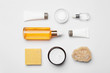Leinwanddruck Bild - Flat lay composition with body care products on white background