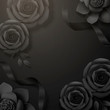 Black paper roses and ribbon - 246538862