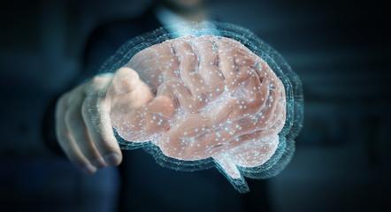 Businessman using digital 3D projection of a human brain 3D rendering © sdecoret