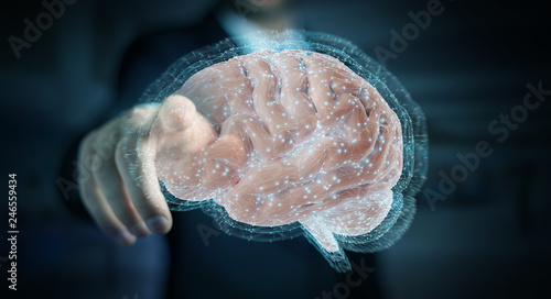 Businessman using digital 3D projection of a human brain 3D rendering