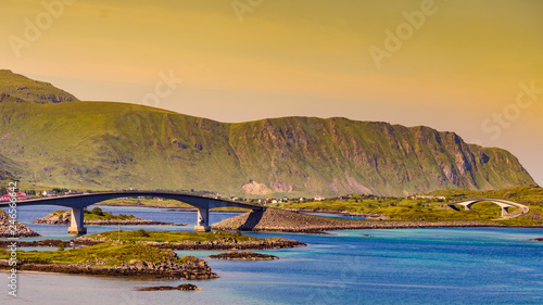 Road and bridge over sea., Lofoten Norway