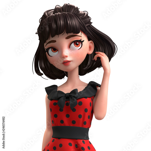 3d cartoon character of a brunette girl with big brown eyes. Beautiful cute cartoon fashion valentines girl in red dress with black polka dots. Romantic young woman. 3D rendering on white background. - 246576482