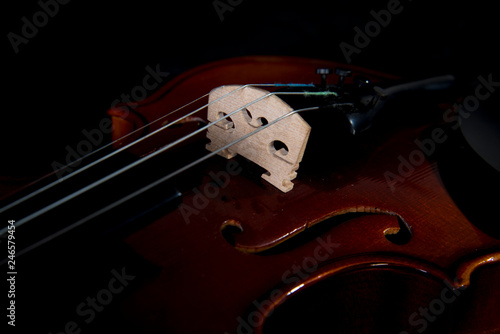 Violin music instrument of orchestra closeup isolated on black.Violin isolated on black. Classical music instruments of orchestra Violin with bow - 246579454