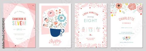 Birthday floral card set. Vector illustration. - 246580430