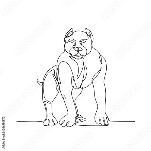 continuous line illustration of an american bully pit bull a type Bully Pit Hulk continuous line illustration of an american bully pit bull a type of dog descended