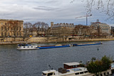 18 DEC 2018 - Paris, France - Barge coming down the Seine river - 246586698