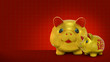 Gold piggy bank on the red background. Chinese New Year.