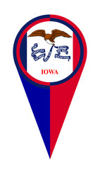 Iowa Map Pointer Location Flag
