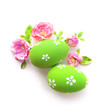 easter eggs and flowers isolated on white background - 246599284