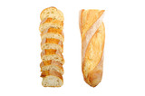 French baguette  isolated on white. Top view.