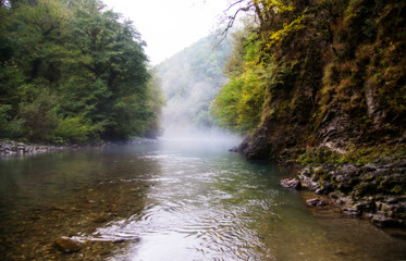 mountain river not far from the Orekhovsky waterfall, and Sochi.