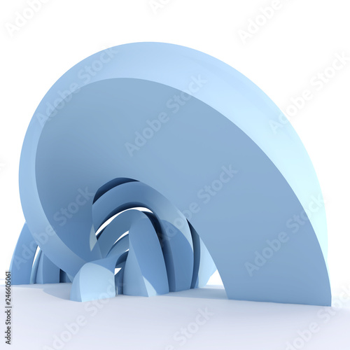 Abstract blue curved sculpture - 246605061