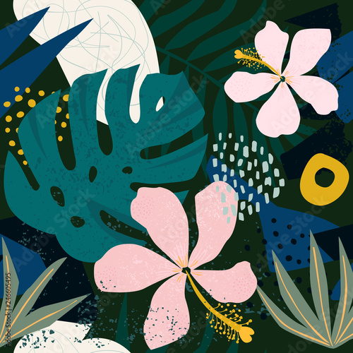 Collage contemporary hibiscus floral hawaiian pattern in vector. Seamless surface design. - 246605495