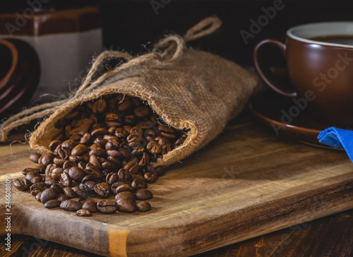 Coffee Beans Spilled From a Burlap Bag