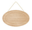 empty Oval wooden sign with lope for hang on white background - 246612288