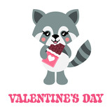 cartoon cute raccoon with  lovely chocolate and text