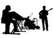 Music man whit jazz band on white background