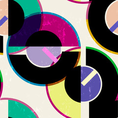seamless abstract geometric background pattern, retro/vintage style, with cirles, strokes and splashes © Kirsten Hinte