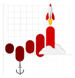 Infographics template of rocket or spaceship launches. Successful startup business concept. Used for web design and workflow layout.