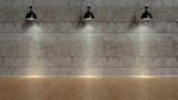 Drei Lampen leuchten vor Wand - 246615263