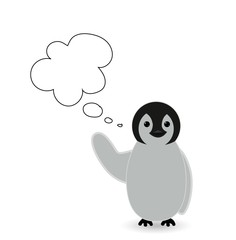 a message , chit chat or speech bubble with cute penguin