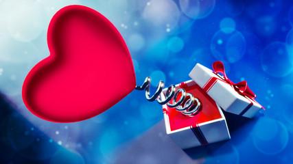 Walentynkowe serce na sprężynie z pudełkiem