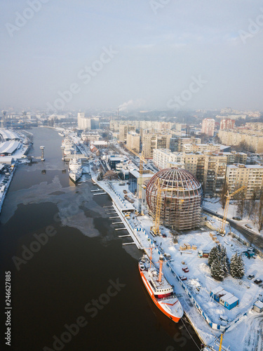 Aerial: The construction of the new building of the Museum of the World Ocean in Kaliningrad, Russia
