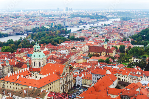 Panoramic view at Prague and Vltava river in summer, Czech republic, Europe