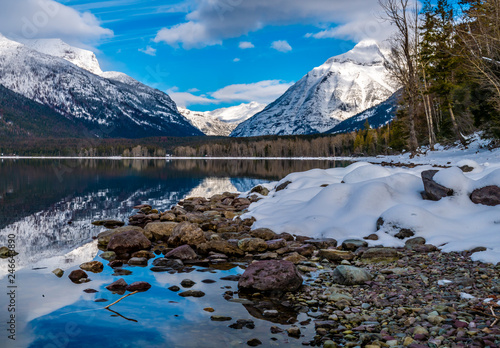 Mount Cannon to the Right and Mount Vaugh to the Left, in Glacier National Park. - 246643890