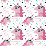 Unicorn cute vector background texture seamless pattern