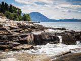 Sea shore of Hvar island, Croatia on sunny summer day