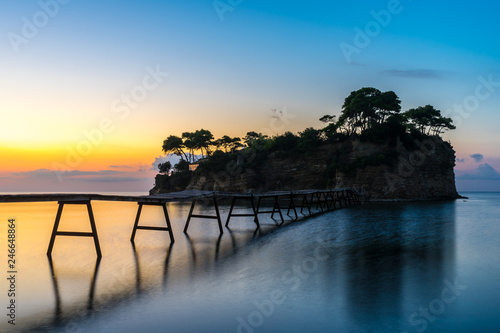 Greece, Zakynthos, Magic sunrise over cameo island and landing stage