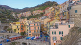 Manarola at sunset, Cinque Terre. Five Lands from the sky at dusk - 246656467