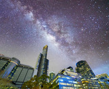 Night city view of buildings along Yarra River, Melbourne. Stars in the sky - 246657081