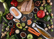 Healthy food clean eating selection. fruit, vegetable, seeds, superfood, cereals, leaf vegetable on rustic background - 246661626