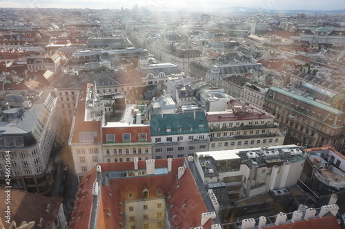 View of winter Vienna from the tower of St. Stephen's Cathedral. City in a haze. - 246670634