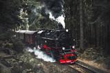 Dampflok - Zug - Eisenbahn mit Dampf und Rauch