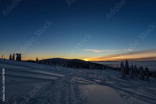 Leinwandbild Motiv Winter trekking Beskidy mountains Rysianka