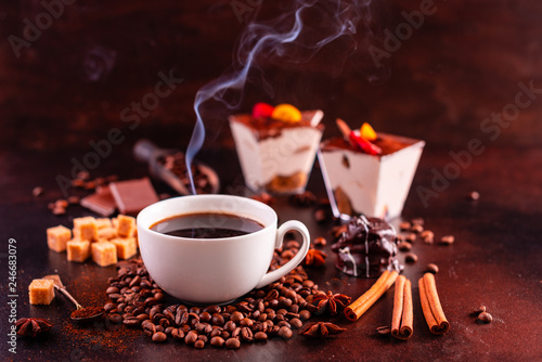 The invigorating morning coffee with sweets. It can be used as a background - 246683079