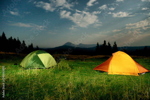 Twp illuminated camping tents