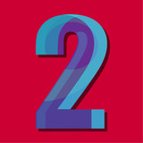 Number 2 two vector abstraction for illustration