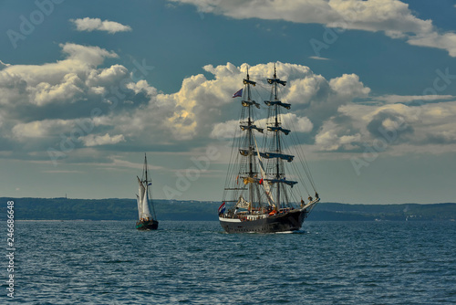 Sailing boat during a cruise on the sea. Baltic Sea