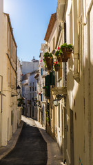 small town in Barcelona with traditional houses and flowers in the balcony and a pedestrian street at Sitges
