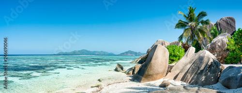 Leinwanddruck Bild Seychellen Panorama als Hintergrund