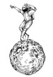 Leinwanddruck Bild - Dancing astonaut. Character for t-shirt design, tattoo.