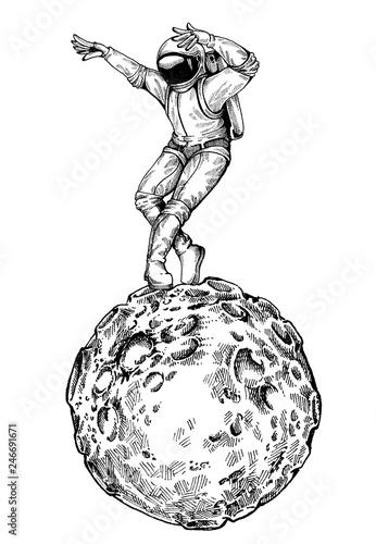 Leinwanddruck Bild Dancing astonaut. Character for t-shirt design, tattoo.