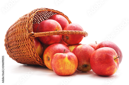 Red apples dropped out of the basket.