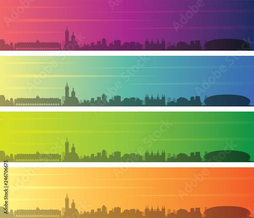 Krakow Multiple Color Gradient Skyline Banner