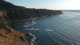 Aerial view of the cliff ocean waves