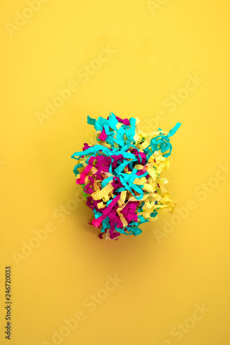 Decorative abstract background of colored paper on a yellow background - 246720033